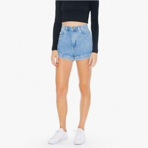 American Apparel High Waisted Jean Shorts 26